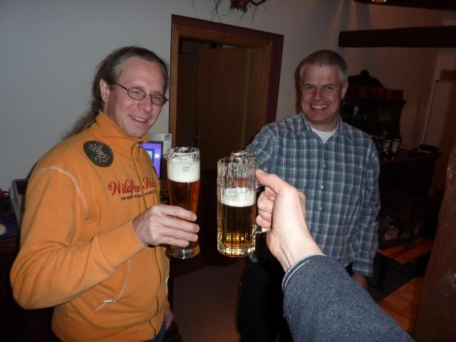 Begrüßung der ersten Teilnehmer(Andreas Bollhalder, Ulrich Cordes ...